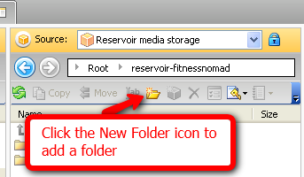 Click the New Folder icon to add a folder