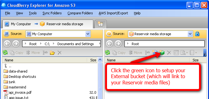 Click the green icon to setup your External bucket (which will link to your Reservoir media files)